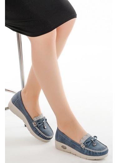 Ayakland Ayakland Cns 181 A.Taşlı Günlük Bayan Babet Ayakkabı Mavi